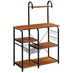Mr IRONSTONE Vintage Kitchen Baker's Rack Utility Storage Shelf 35.5″ Microwave Stan ...