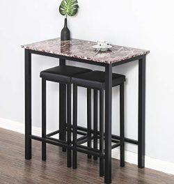 Homury 3-Piece Pub Dining Set Bar Table Set Breakfast Table,Black