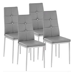Kitchen Dining Chairs Set of 4 with Sturdy Metal Legs, High Backrest Dining Breakfast Chair for  ...