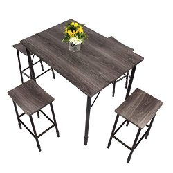 Dporticus 5-Piece Dining Set Industrial Style Wooden Kitchen Table and Chairs with Metal Legs (S ...