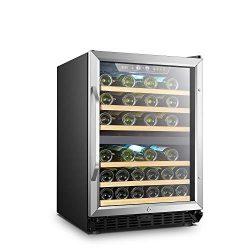LANBO Dual Zone Wine Refrigerator, 44 Bottle Built-in Under Counter Compressor Wine Cooler, 24 I ...