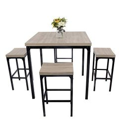 LUCKYERMORE 5 Piece Pub Dining Table Set Kitchen Table and Chairs for 4 Bar Stool Industrial Sty ...