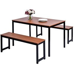 HARPER & BRIGHT DESIGNS 3-piece Dining Table Set Kitchen Table with Two Benches, Kitchen Con ...