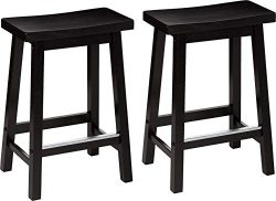 AmazonBasics Classic Solid Wood Saddle-Seat Counter Stool with Foot Plate – 24″, Bla ...