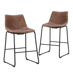 LCH 24 Inch Vintage Metal Bar Stools – Set of 2 Wear-Resistant Fabric Barstools with Metal ...