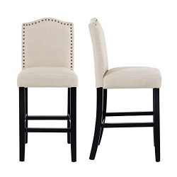 LSSBOUGHT 24 Inches Fabric Counter Height Stools with Solid Wood Legs and Nailed Trim, Set of 2( ...