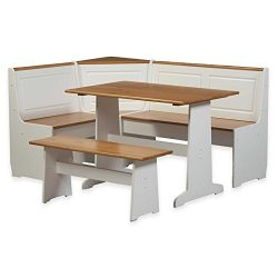 Riverbay Furniture Breakfast Corner Nook Table Set in White