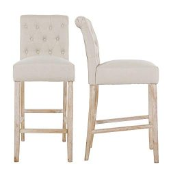 NOBPEINT Fabric Upholstered Barstool Solid Wood Legs 30″, Tan(Set of 2)