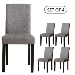 Set of 4 Modern Fabric Upholstered Dining Chairs Elegant Design Dining Room Chairs (Gray Set of 4)