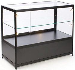 Free-Standing Glass Display Case, 48 x 38 x 23-3/4-Inch, Framed in Black Aluminum, Black Laminat ...