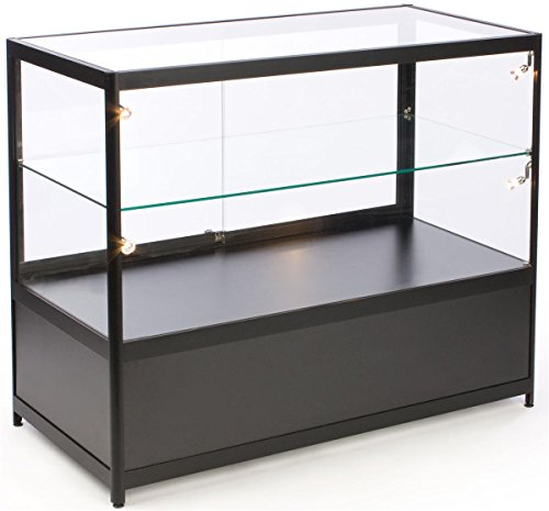 Free-Standing Glass Display Case, 48 x 38 x 23-3/4-Inch, Framed in Black Aluminum, Black Laminat ...