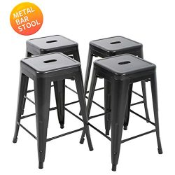 "BestMassage Bar Stools Counter Stool Barstools 24""Height Industrial Bar Chairs Set of 4 Stackabl ..."