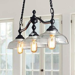 Log Barn 3 Lights Island Hanging Lighting for Kitchen Island in Rusty Black Metal Finish with Cl ...