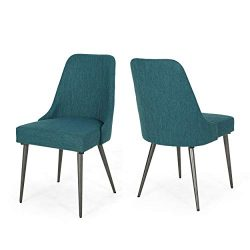 Dawn Modern Fabric Dining Chairs (Set of 2), Teal