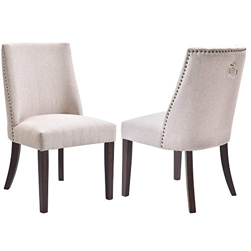 Kitchen Dining Chairs Set of 2 Fabric Upholstered Dining Room Chairs with Solid Wood Legs, Nailh ...