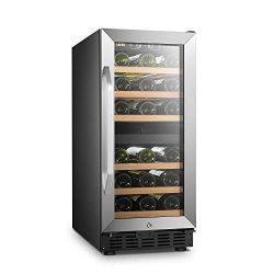 LANBO Dual Zone Wine Refrigerator, 28 Bottles Built-in Compressor Wine Cellar Cooler, Tempered G ...