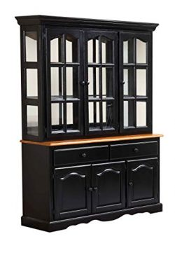 Sunset Trading DLU-22-BH-BCH Black Cherry Selections Buffet and Hutch Three Door | Two Drawer Di ...