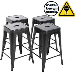 FDW Metal Stools Bar stools 24 Inch Height Stackable Barstools Indoor Outdoor Dining Backless Ki ...