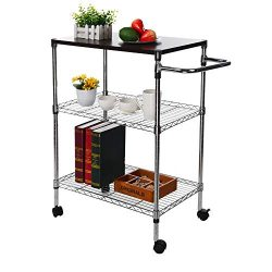 Buolo-Ship from USA 3-Tier Microwave Shelf Kitchen Bakers Racks and Shelves with Wheel Microwave ...