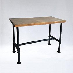 Diwhy DIY Industrial Design Pipe Dining Table Casual Computer Laptop Table Modern Studio Wood an ...