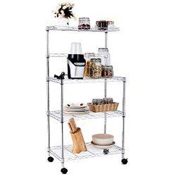Giantex 4-Tier Baker's Rack Microwave Rack Free Standing Storage Shelf Microwave Oven Stan ...