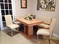 German Furniture Warehouse Modern Leather Breakfast Nook Dining Set,