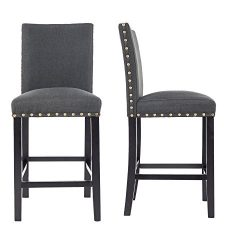 GOTMINSI Nailhead 24″ Counter Height Stools Upholstered Bar Stools with Solid Wood Legs, S ...