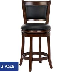 Ball & Cast Jayden Hardwood Counter-Height Swivel Bar Stool with Faux-Leather Upholstery, 24 ...
