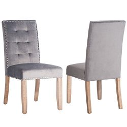 Merax PP036192 Set of 2 Stylish Tufted Upholstered Fabric Dining Chairs with Nailhead Detail and ...