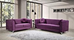 Container Furniture Direct S5431-S+L Dolin Ultra Modern Velvet Upholstered Pleated 2 Piece Livin ...