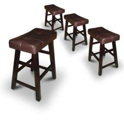 Legacy Decor 4 24″ or 29″ Dark Espresso Wood Bar Stools with Bonded Faux Leather Sea ...