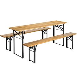 Best Choice Products VD-2837OP Products 3-Piece Portable Folding Picnic Table Set w/Wooden Table ...