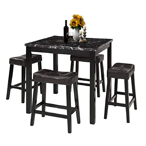 LZ LEISURE ZONE 5-Piece Dining Table Set Kitchen Marble Top Counter Height Dining Set with 4 Lea ...