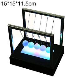 lightclub LED Luminous Light Newton Cradle Pendulum Balance Swing Ball Decorative Ornament Table ...