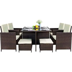 LZ LEISURE ZONE 9 Piece Patio Furniture Dining Set Outdoor Garden Wicker Rattan Dining Table Cha ...