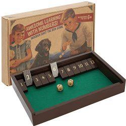 Shut The Box Game – Deluxe Wooden Four Player Old Fashioned Dice Box – Nostalgic Fun ...