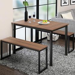 Homury Modern Studio Soho Dining Table with Two Benches 3 Piece Set