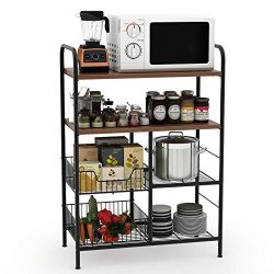 Tribesigns Kitchen Baker's Rack, 4-Tier Utility Storage Shelf, Microwave Oven Stand Rack with Wi ...