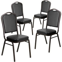 Flash Furniture 4 Pk. HERCULES Series Crown Back Stacking Banquet Chair in Black Vinyl – G ...