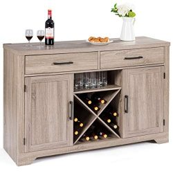 Giantex Buffet Cabinet Sideboard with Two Drawers Two Cabinets One Shelf and 4 Bottle Wine Rack  ...