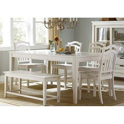 Liberty Furniture Summerhill Dining 6-Piece Rectangular Table Set, Rubbed Linen White Finish