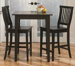 Home Style 5181-359 Arts and Crafts 3-Piece Pub Table and Chairs/Stool Set, Black Finish