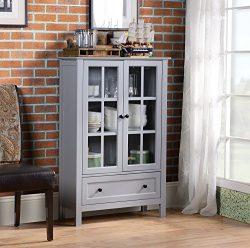 Homestar  2-Door/ 1-Drawer storage with Glass Cabinet, 11.77 x 31.5 x 47.25 – Inches, Grey