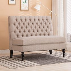 Modern Settee Bench Banquette loveseat Button Tufted Fabric Sofa Couch Chair 2-Seater Light Khaki