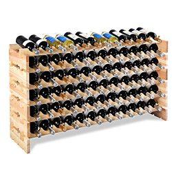 Giantex 72 Bottle Wine Rack Modular Bottle Display Shelves Wood Stackable Storage Stand Wobble-F ...