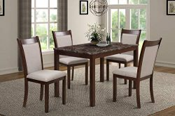 Harper&Bright Designs 5 Piece Dining Set Rubber Wood Include 1 Marble Top Table and 4 Burlap ...