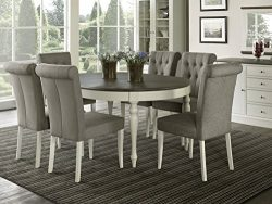 Everhome Designs – Vegas 7 Piece Round To Oval Extension Dining Table Set for 6 (Parsons C ...