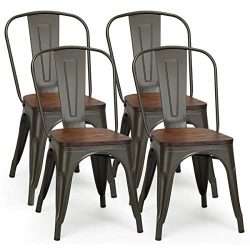 COSTWAY Tolix Style Dining Chairs Industrial Metal Stackable Cafe Side Chair w/Wood Seat Set of  ...
