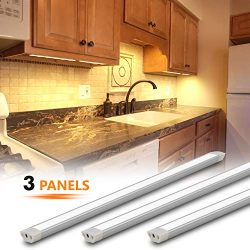 MYPLUS LED Under Cabinet Lighting, 3 pcs 12 inches Extremely Soft Kitchen Lights 10W, 630lm With ...