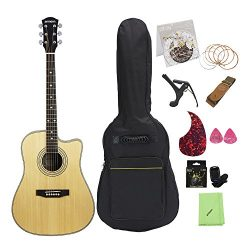 ammoon 41 inch Acoustic Folk Guitar Spruce Topboard Cutaway Sapele Backboard & Sideboard Ros ...